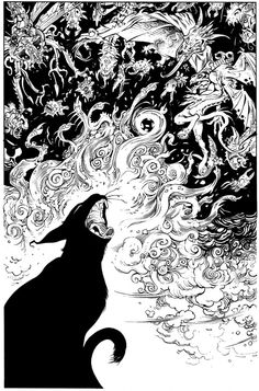 art-and-fury: Zeke Scream - Mark Nelson Tattoo Gato, Art Sketches, Art Drawings, Black Cat Art, Black Cats, Arte Obscura, Illustration Art, Illustrations, Witch Art