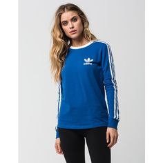 Adidas 3 Stripes Womens Tee ($45) ❤ liked on Polyvore featuring tops, t-shirts, blue, blue striped shirt, long sleeve cotton shirt, long sleeve cotton t shirts, logo t shirts and blue collared shirt