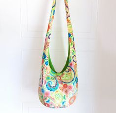 Floral and Swirls Corduroy Hobo Bag Sling Bag by 2LeftHandz, $33.50