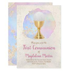 first communion FAUX gold foil and watercolor Invitation   Zazzle.com