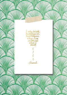 Coco Chanel Champagne Quote in Gold Foil Print by boltsandglitter, $5.00. Use code: POPCHAMPAGNE for 50% off!