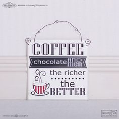 "7"" x 7"" x .25"" wood tile (COFFEE, CHOCOLATE AND MEN) black/white/red #homedecor #kitchen #decor #coffee #chocolate"