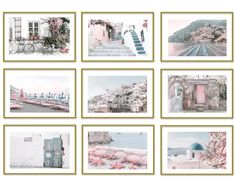 Positano and Santorini Posters Aesthetic Gallery Wall Set of 9 Photography Prints Pink Wall Art Room Decor