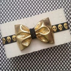 Punk rockabilly skull baby headband black gold by SplendidBee, $6.00