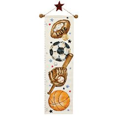 Watch with pride as your son grows inch by inch with this adorable growth chart. A delightful hand painted design featuring whimsical sports items and colorful stars. This canvas growth chart has a dowel rod at the top and bottom, and with the addition of his name, it makes a wonderful gift idea.