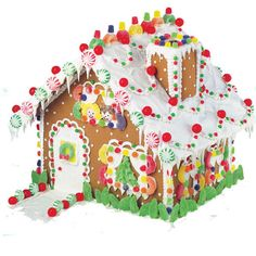 s the Ultimate Gingerbread Kit. Complete with trees, red and green pinwheel mints, candy-covered chimney and a rainbow of color and everywhere you look. This generous-sized house would make a wonderful centerpiece on your table all holiday long. Homemade Gingerbread House, Gingerbread House Designs, Gingerbread House Parties, Gingerbread Decorations, Christmas Gingerbread House, Christmas Treats, Gingerbread Cookies, Christmas Cookies, Christmas Time