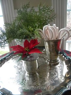 .Silver tray with silver vases and candy canes, poinsettia and greenery