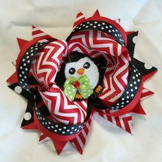 Penguin Hair Bow - Christmas Collection - Sarah's Sparkling Designs