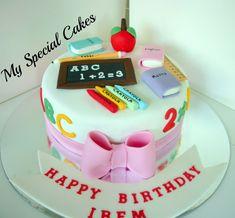 My Special Cakes: Teacher Cake Teachers Day Cake, Teacher Cakes, Teacher Birthday Cake, Fondant Cake Designs, Fondant Cakes, Cupcake Cakes, School Cupcakes, School Cake, Sweet Cakes