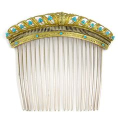 Antique French .800 Silver Gilt Vermeil Empire Turquoise Jeweled Hair Comb Diadem from Antique Bautique on Ruby Lane