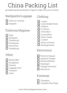 Packing List Destinations  Beijing Shanghai And Infographic