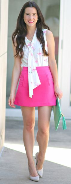 Chiffon flamingo blouse with a C.Wonder hot pink mini skirt, nude patent leather heels, monogrammed Gigi New York Uber clutch in green python, and pearl accessories | Let's Flamingle: Cute Flamingo Gift Ideas (Including Summer's Must-Have Top) by fashion blogger Diary of a Debutante