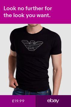 12097cc4c87b EMPORIO ARMANI Mens cotton T-shirt in Black -Size M L XL Tight Muscle fit