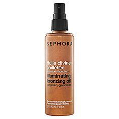 What it is:A spray-on bronzing oil. What it does:This lightly-tinted bronzing oil adds a glistening sunkissed effect to the body and hair. Formulated with grapeseed oil and shimmery metallic flecks, it instantly illuminates skin with an irresistibly
