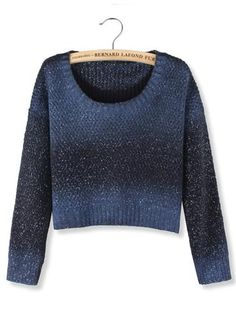 Blue Rendering White Dot Long Sleeve Crop Pullover Sweater - shechoic.com