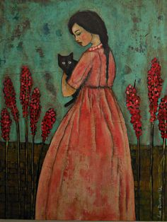 I believe the artist is Kim Duncan although I am having a hard time verifying this Art Et Illustration, Illustrations, She And Her Cat, Black Cat Art, Black Cats, Art For Art Sake, Cat Drawing, Crazy Cats, Mixed Media Art