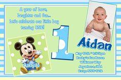 Mickey Mouse 1st Birthday Invitations Baby by Createphotocards4u, $15.00