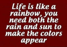 Life is like a rainbow, you need both the rain and sun to make the colors appear. #quotes
