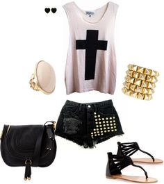 """""""Cross Shirt and Cut off shorts"""" by stylelover10 on Polyvore -- NEED THIS"""
