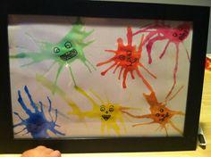 Petit bricolage fait avec un peu de peinture, de l eau et une paille. Fait avec mon pti garçon de 2 ans. Ensuite j ai rajouté des yeux et bouches.