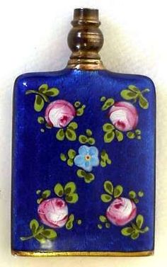 Rare Cobalt Double-Sided Enamel Guilloche Purse Perfume.