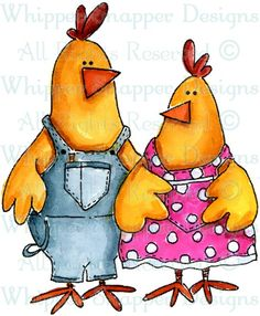Farmer & Adell - Chickens - Animals - Rubber Stamps - Shop