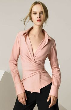 Donna Karan New York Stretch Wrap Shirt Wrap Shirt, Wrap Blouse, Wrap Dress, Diy Moda, Donna Karan Ny, Outfits Mujer, Casual Skirt Outfits, Blouse Outfit, Dress Shirt