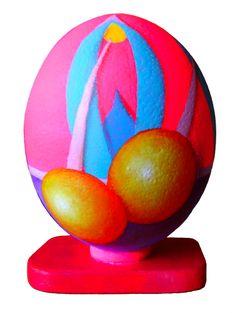 Senza titolo I, 2009, olio e acrilico su uovo di struzzo, 20x13 cm - Ignazio Mazzeo #art #artobject #ignaziomazzeo