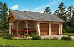 Projekt domu energooszczędnego G42 garaż dwustanowiskowy z pomieszczeniem gospodarczym i altaną ogrodową z grilem Gazebo, Outdoor Structures, Cabin, House Styles, Projects, Home Decor, Log Projects, Kiosk, Blue Prints