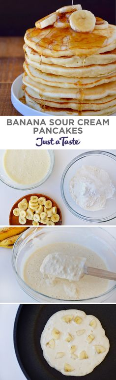 Banana Sour Cream Pancakes #recipe from justataste.com #breakfast #pancakes