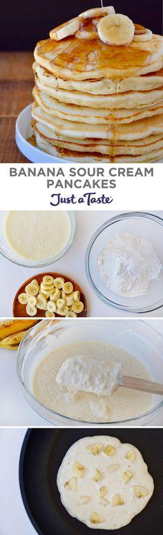 Banana Sour Cream Pancakes #recipe from justataste.com #breakfast #pancakes
