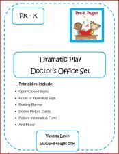 doctor office dramatic play printables you can buy for $2