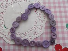 Purple button hanging heart £4.50