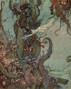 The Liquid Sparkled — Edmund Dulac illustration from The Little Mermaid — Marshall used these Dulac illustrations as an example of how the artist made some areas with complicated details while  leaving some of the background plain and simple to balance out the composition.