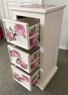 Floral napkin decoupage drawer unit