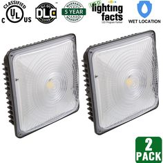 2 Pack Hykolity 70W LED Canopy Light Outdoor Waterproof 350W MH/HPS/HID Replacement, 6000 Lumens, 5000K Daylight White, UL Listed and DLC Qualified Outdoor Ceiling Lights Fixture