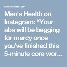 """Men's Health on Instagram: """"Your abs will be begging for mercy once you've finished this 5-minute core workout from @alexia_clark,  trainer and fitness model in…"""""""
