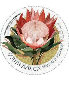 South Africa, National Flower, Giant or King Protea Stamp. Designed by Lize-Marie Dreyer New Africa, Out Of Africa, South Africa, African Symbols, King Protea, National Symbols, Safari, Mail Art, African Art