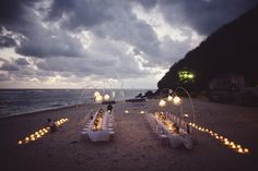 candle lit wedding beach reception