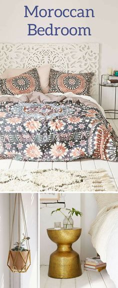 Moroccan bedroom decor ideas | morocco | bedroom | duvet cover | rug | nightstand | headboard | urban outfitters | sponsored