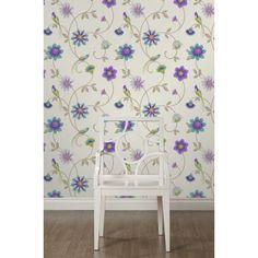 Buy Fine Decor Eden Bird Wallpaper Cream / Purple / Teal / Green