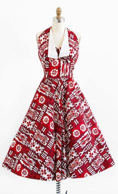 vintage 1950s dress / 50s dress / Red Hawaiian by RococoVintage