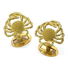 18k Gold Crab Cufflinks (5,145 CAD) ❤ liked on Polyvore featuring men's fashion, men's accessories, cuff links and gold cuff links