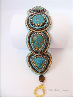 Bead Embroidery Bracelet beaded bracelet by NoraTordaiJewelry