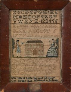 Newport, Rhode Island silk on linen needlework sampler, inscribed ''Ruth Hazard Born August 6 1777 made this in May 27, 1791''