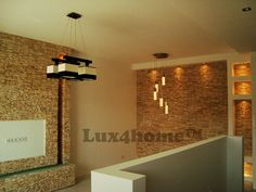 #Salon and #StoneWalls  R240 Yellow Marble. Slices are 20x40 cm and the joints are invisible. The whole looks like it was laid out of individual pieces ... #Lux4home™, #wall #livingroom, #stone.