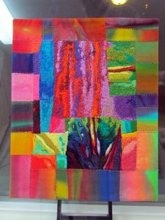 """Fibermania: machine and hand embroidery on hand dyed cottons, fused, machine quilted. 13x15"""""""