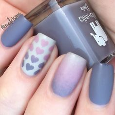 This matte ombré mani by @melcisme is gorgeous! Don't forget about our Valentine's Sale! Code BEMINE for 15% off plus FREE Heart Swirls w/$20 purchase! - Heart Nail Stencils snailvinyls.com