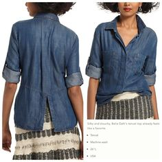 Anthropologie Washed Chambray Split-Back Shirt This denim buttondown by Cloth & Stone has been lovingly worn 4/5 times and is in excellent condition. Sleeves have roll-up tabs and there's a back-slit. Note that I have reinforced the back pleat with a few (interior) stitches to prevent ripping when worn. Anthropologie Tops Button Down Shirts