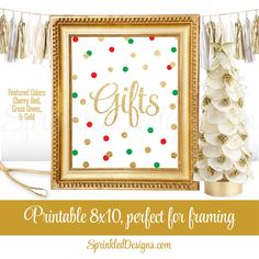 Gift Table Party Sign  Red Green Gold Glitter by SprinkledDesign